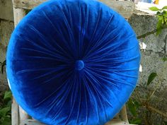 parlement blue silk velvet round pillow by originalboutique, $33.00