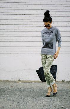 obsessed! Graphic sweatshirt, camo pants, Valentino heels