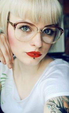 great glasses, great lipstick, great face
