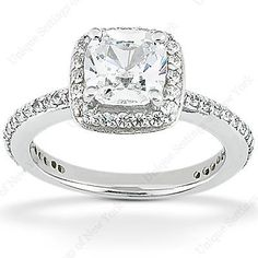 1 1/2 Carat Cushion Cut Diamond Engagement Ring... Obsessed!