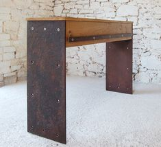 rust - steel & oak console with drawer