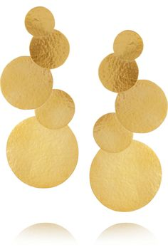 Hervé Van Der Straeten|Hammered 24-karat gold-plated disc clip earrings|NET-A-PORTER.COM