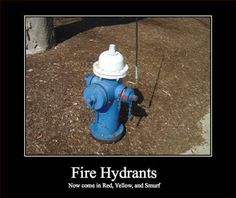 Fire hydrants, now in Smurf color
