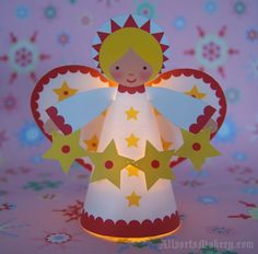 Starry-angel-4 angel printabl, printable templates, christmas sweets, angel crafts, paper, christmas angels, christma angel, kid, tea lights