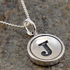 Initial Letter J  Typewriter Key Pendant Necklace Charm - Sterling Silver - Other Letters Available. $49.00, via Etsy.