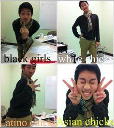 White Girl, Black Girl, Hispanic Girl, and Asian Girl poses