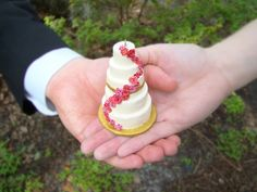 Keep your wedding cake forever! Send pictures into this company and they will make an ornament that looks exactly like your cake