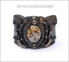 Handcrafted jewelry cuff bracelet vintage victorian style brown bronze polymer clay ceramic bead MADE TO ORDER. $64.00, via Etsy.