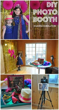 DIY photo booth at sueathome. Would think this is awesome for Jessie's wedding!