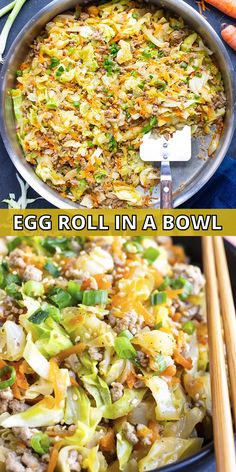 Egg Roll in a Bowl recipe is a Paleo and keto one-pot recipe that is loaded with Asian flavor and ground turkey or chicken. It is an easy cabbage and ground turkey dinner recipe that is also gluten-free, dairy-free, and Whole30 approved. From start to finish, you can have this healthy, low-carb, and easy meal ready in under 30 minutes! #eggrollinabowl #eggroll #keto #dinner #turkey #lowcarb