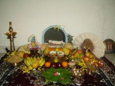 Vishu! Vikram and I would be woken up by nani at 4am , our living room would be decorated like this picture and had a huge mirror in the middle. With confusion and slight irritation , Vikram and I would be asked to then spit in nani's hand , make a wish into the mirror for the new year , wish the family and go back to bed. We were always amused and actually loved this little ritual we had at the Bhaskaran household. Thanks to Nani! mirrors, living rooms, hands, festivals, vishu festiv, aahsom india, families, new years