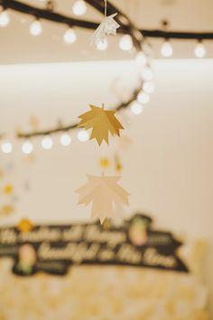 paper maple leaves, photo by Jonathan Ong http://ruffledblog.com/handcrafted-singapore-wedding #weddingideas #garlands #diy