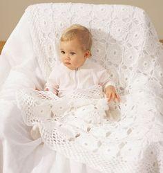 The Precious Pearls crochet baby blanket has a beautiful lace crochet pattern that you will love.  | AllFreeCrochetAfghanPatterns.com