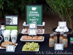 themed birthday parties, starbuck, birthday brunch, coffe parti, bridal parties, parti idea, coffee stations, themed parties, bridal showers