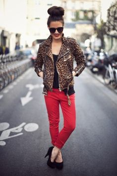 leopard print + red