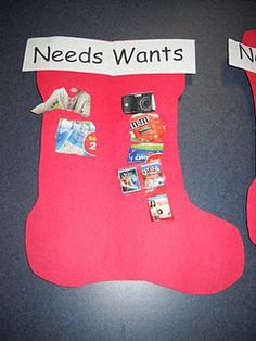 Needs and Wants- i love this for economics right before Christmas