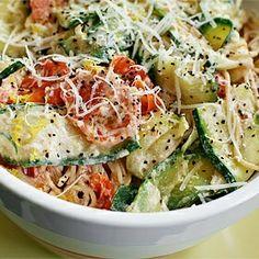 Pasta with Zucchini, Tomatoes and Creamy Lemon Yogurt Sauce