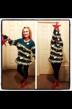 Christmas Tree DIY Costume.  Great alternative for an ugly Christmas sweater party