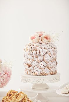 A sugar-coated croquembouche wedding cake by Layered Bake Shop | Brides.com