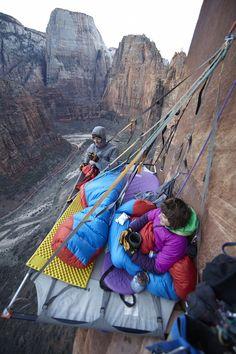 Katie Lambert & Mason Earle free climbing the 1200-foot sandstone Moonlight Buttress, Zion National Park, Utah