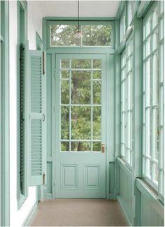 mint house, the doors, mint green, door colors, paint colors, aqua color, painted doors, porch, mint paint color