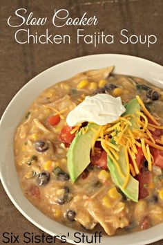 Slow Cooker Creamy Chicken Fajita Soup- Ingredients:  1 lb boneless, skinless chicken breasts  2 cans condensed cream of chicken soup (or this Homemade Cream of Chicken Soup recipe)  1 cup salsa  2 cups frozen corn  1 (15 oz) can black beans, rinsed and drained  1 1/2 cups water  1 teaspoon cumin  1/2 teaspoon dried cilantro (optional)  1 cup cheddar cheese, shredded  favorite toppings