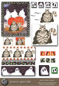 Halloween Cat and Clip Art with 4 Matching by sharonglanville, $4.00