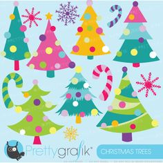 Christmas Tree Clipart - brightly colored Christmas trees for invitations, crafts, card making and more.