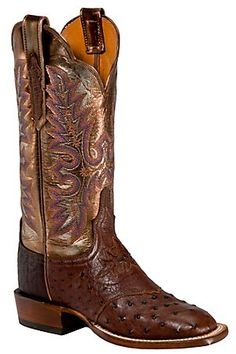 Lucchese Cowgirl Ladies Brown Full Quill Ostich Metallic Top Exotic Square Toe Boot