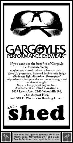 Vintage Toledo TV - Other Vintage Print Ads - Gargoyles Performance Eyewear at The Shed (Wed 11/30/94 ad)