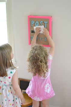 kids will spend hours making mail ~ see how we painted cards and envelopes for the post box