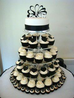 Black and White Wedding cupcake tower