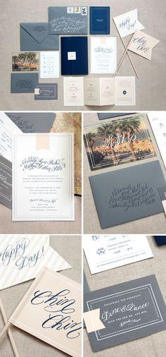 I can't stop pinning grey & navy wedding stuff! Invitation Suite #wedding #invitations #grey