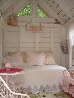 Pale Pink And White little girls, shabbi chic, girls playhouse, playhouses, shabby chic design, little girl rooms, cottage bedrooms, garden, kid
