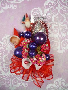 Vintage Santa and Elf Red Hat Society Decoration Gift Christmas Corsage...whew! Still, how pretty! (meaicp on etsy)