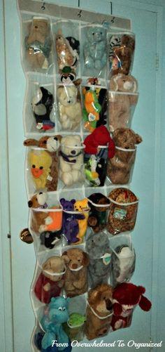 Great way to organize stuffed animals!