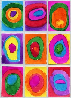 Art Projects for Kids: Kandinsky Art Trading Cards. Just pencil drawings and liquid watercolors.