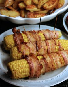 Bacon wrapped corncobs