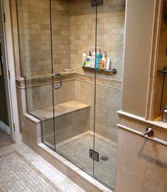 shower ideas, bench, tile shower, bathroom idea, french country, master suite, master bath, shower stalls, bathroom showers