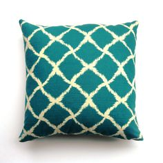 Image detail for -Teal Ikat Pillow blue, white, vintage