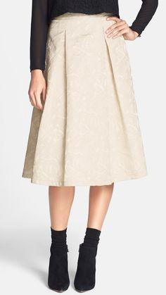 Love the color + texture! Cream Jacquard Midi Skirt
