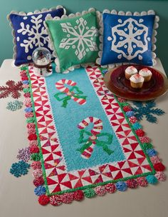 Candy Cane Lane runner and pillows, patterns by Melinda Bula