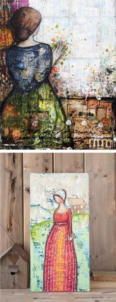 "Two different mixed-media takes on Jane Austen from the July/August installment of Somerset Studio: Laly Mille's ""Touch the Dream"" and Tammy Brinkley ""Persuasion""-inspired tribute."