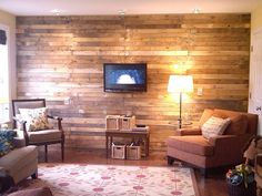 Wall covered with boards from salvaged pallets.