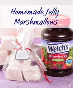 Make your own marshmallows at home! Flavor with Welch's strawberry spread. Marshmallow recipe