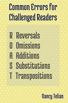 Helpful mnemonic to remember when assessing reading errors