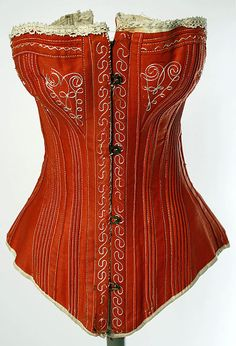 Red Cotton Corset, American, 1880s.