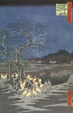 New Years Eve Foxfires at the Changing Tree. Ukiyo-e woodblock print, 1857, Japan, by artist Ando Hiroshige.