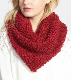 Smitten with this cozy red popcorn stitch infinity scarf!