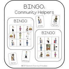 community helpers | Community Helpers Picture Bingo